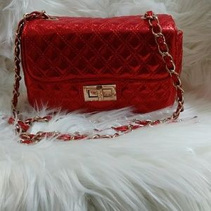 NWOT Red & Gold Shimmering Quilted Bag/Purse